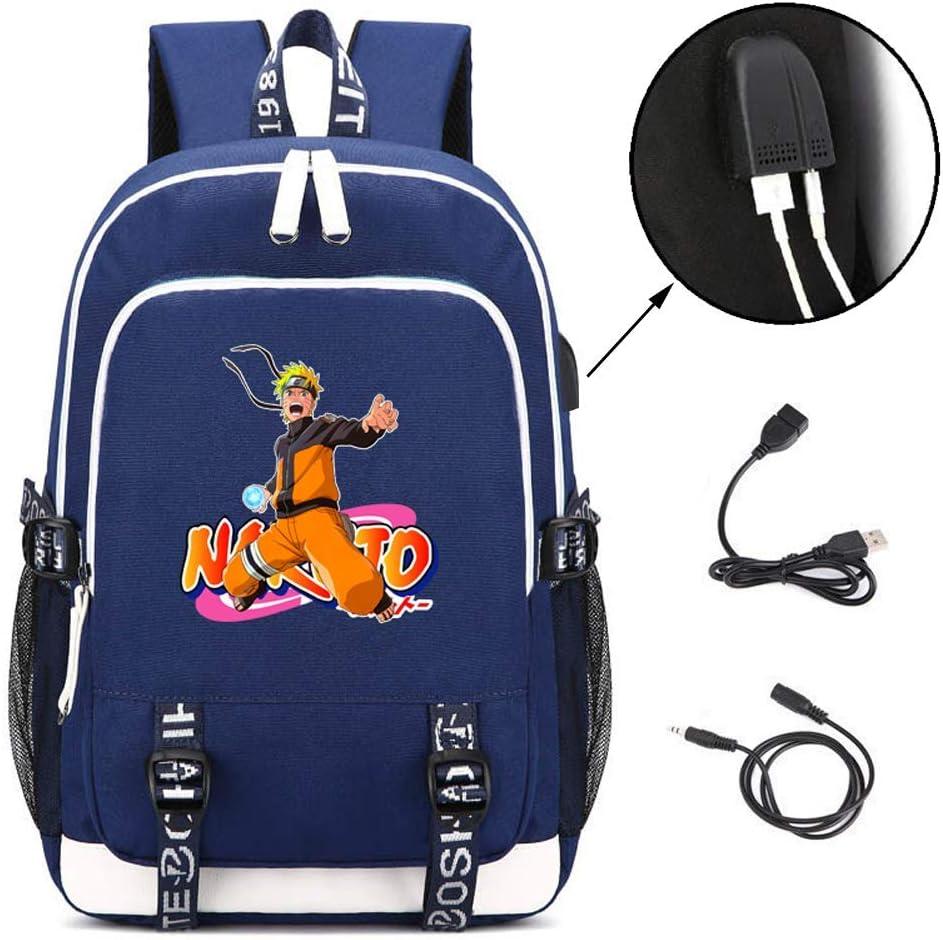 Uzumaki Naruto USB Backpack College Bag Laptop Backpack with USB Charging Port for Men Women