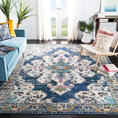 Safavieh Madison Collection MAD452M Boho Chic Medallion Distressed Non-Shedding Stain Resistant Living Room Bedroom Area Rug