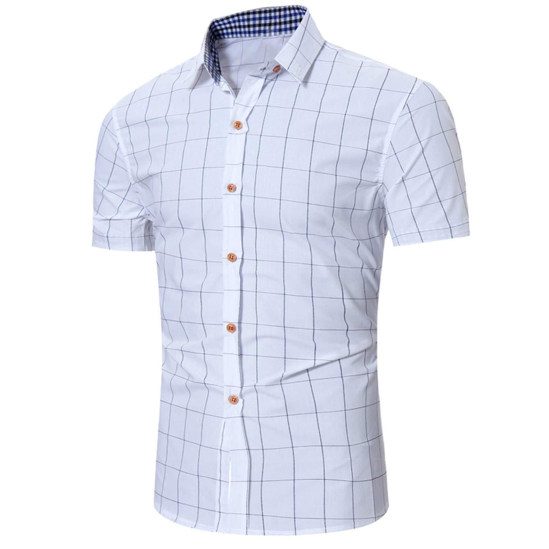 Men Plaid Business Button Down Shirts,White,L