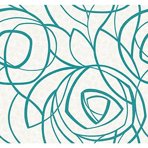 York Wallcoverings WH2668 Wallpap-Her Diamond Oasis Wallpaper, Pearlescent White/Glittering Turquoise/White by York Wallcoverings (Pearlescent Wallpaper)