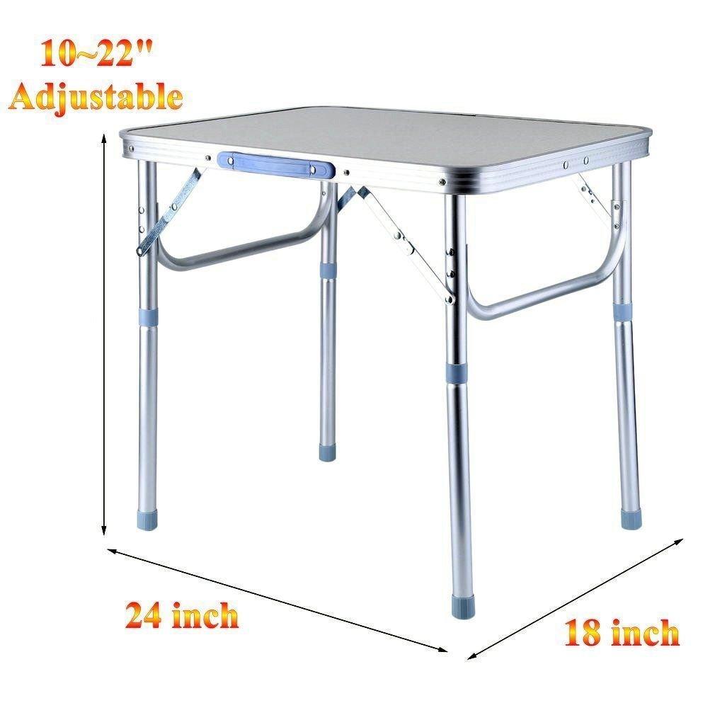 Mybesty 24''x18'' Portable Folding Table Aluminum Adjustable Outdoor Picnic Garden Desk