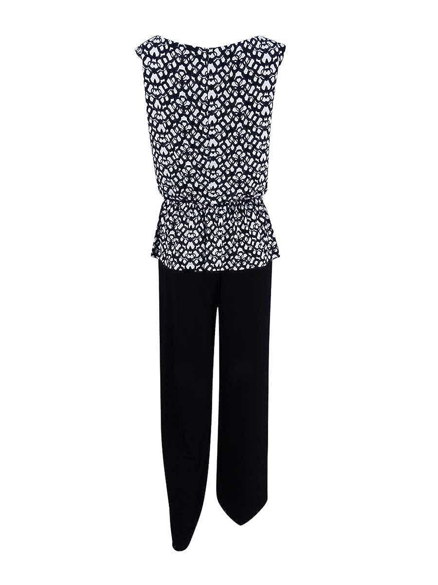 0f1a9ba368f5 Amazon.com  Connected Women s Petite Printed Peplum Wide-Leg Jumpsuit (8P