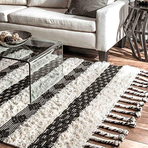 nuLOOM VEAH01A Striped Delia Wool Rug, 5' x 8', Ivory (Rugs Striped Wool)