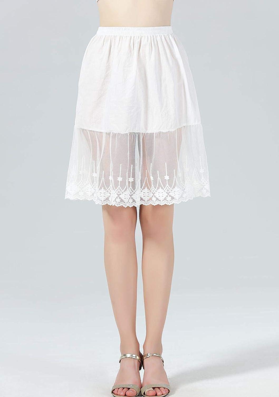 913be07ed379 Femme Jupon Dentelle Lingerie sous-Jupe Robe Coton Blanc Noir Ivoire Court  Mi-Long