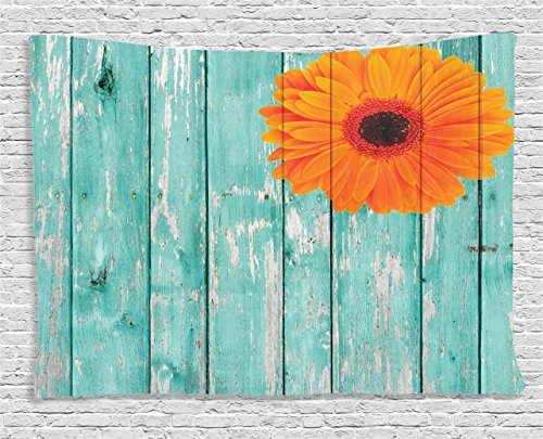 Cheap Ambesonne Rustic Barn Decor Collection, Daisy on Vintage Wood Barn Fence Picture Fresh Gerbera Flower Grunge Artsy Print, Bedroom Living Room Dorm Wall Hanging Tapestry, 60 X 40 Inches, Mint Orange