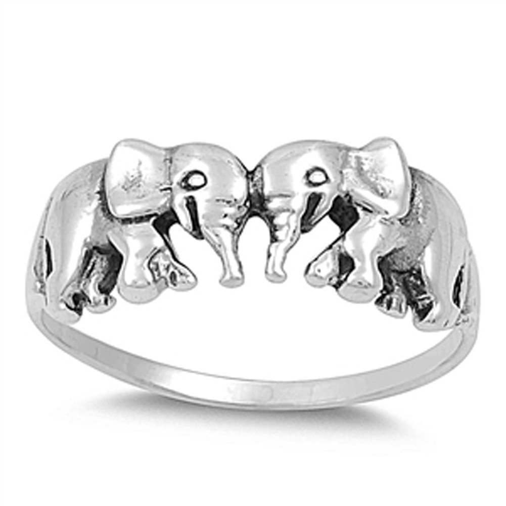 Women's Elephant Pair Classic Ring New .925 Sterling Silver Band Size 8