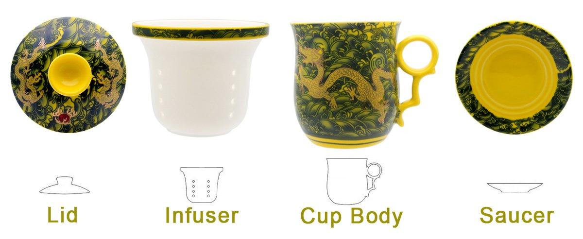 /chino Jingdezhen cer/ámica taza de caf/é de t/é sistema de preparaci/ón de t/é para oficina en casa hollihi porcelana taza de t/é con tapa y platillo infusor Sets/