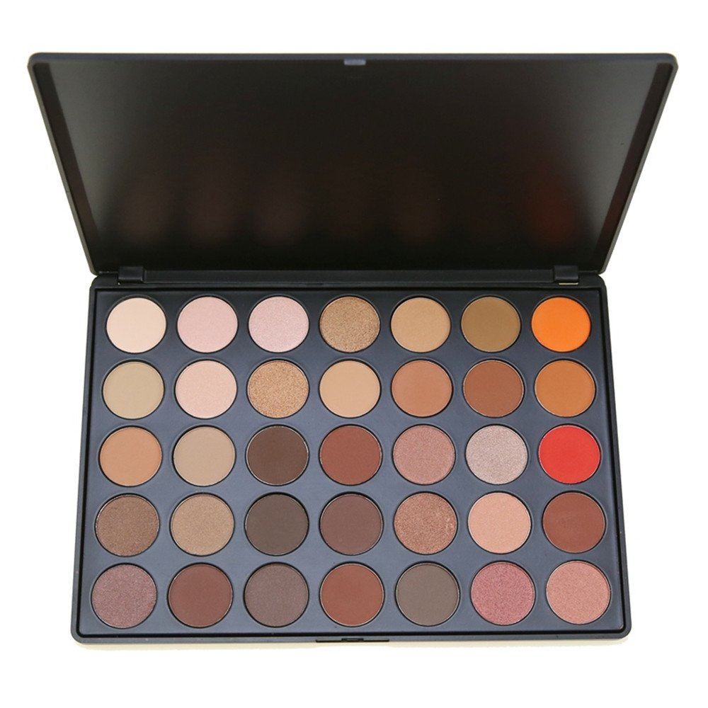 SEPROFE Eye Shadow Makeup Palette, 35 Color Nature Warm Smoky Colour Matte Shimmer Neutral Tone Cosmetics Pallet Pigment Metallic Luminous Make Up Palette Waterproof Eyeshadow Multicolor Daily Beauty Tool Kit (35E)