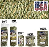 TOUGH-GRID 750lb Forest Camo Paracord/Parachute Cord - Genuine Mil Spec Type IV 750lb Paracord Used by The US Military (MIl-C-5040-H) - 100% Nylon - Made in The USA. 100Ft. - Forest Camo