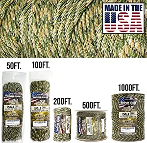 TOUGH-GRID 750lb Forest Camo Paracord/Parachute Cord - Genuine Mil Spec Type IV 750lb Paracord Used by the US Military (MIl-C-5040-H) - 100% Nylon - Made In The USA. 200Ft. - Forest Camo