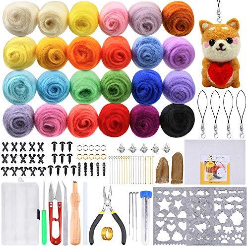 Needle Felting Starter Kit - PP OPOUNT Needle Felting Starter Kit Including 24 Colors Wool Roving Fibre Yarn, 25 Pieces Wool Felt Tools and Instructions for DIY Needle Felting