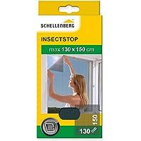 Schellenberg 50715 Fliegengitter für Fenster   zuverlässiger Schutz vor Mücken, Fliegen, Insekten & Ungeziefer   Maße: 130 x 150 cm   anthrazit   einfache Montage ohne bohren   inkl. Befestigungsband