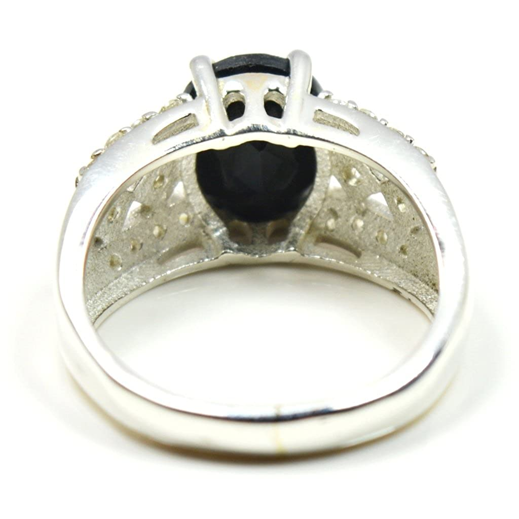CaratYogi Beautiful Natural Oval Shape Black Onyx Ring Sterling Silver Size J-Y For Mens