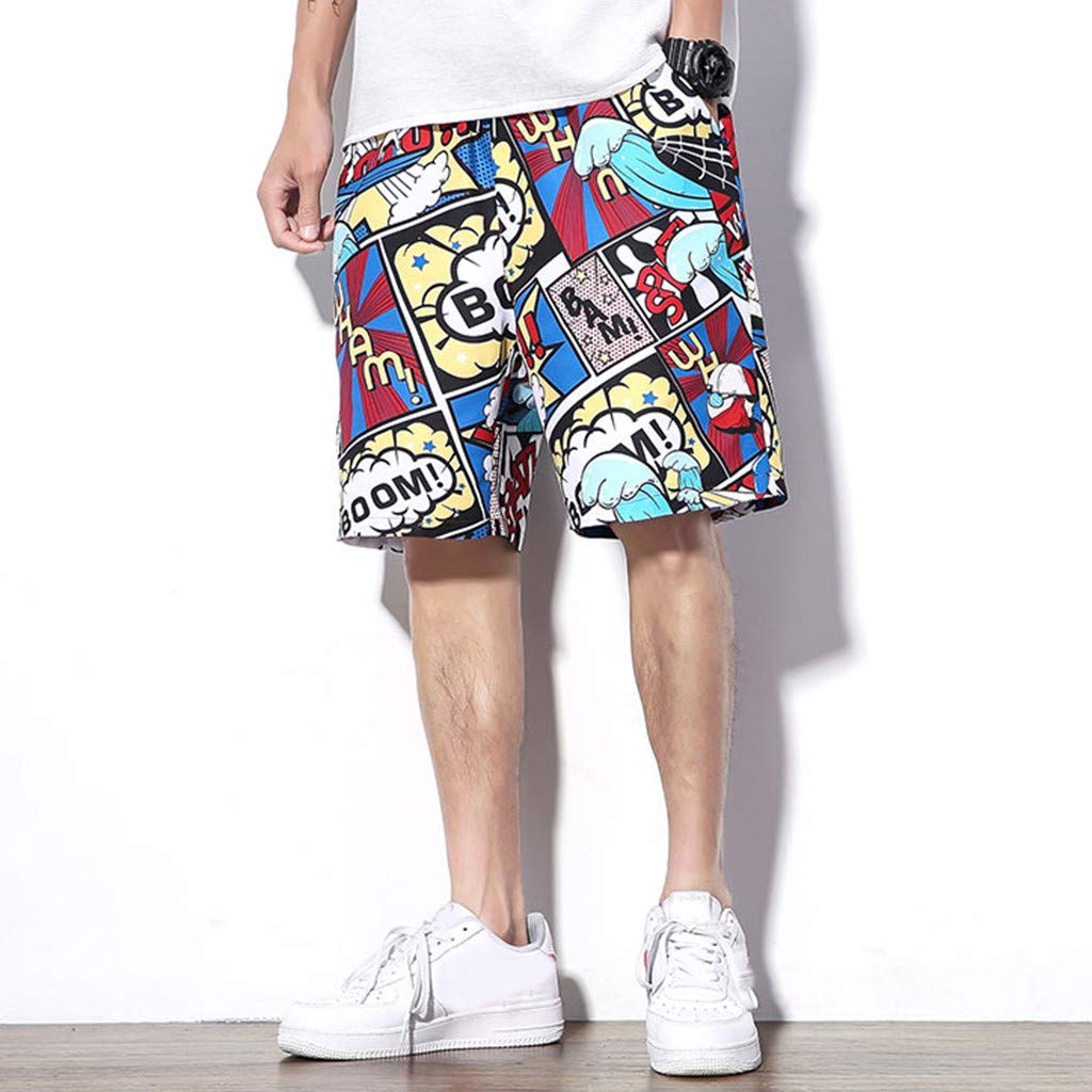 SKYLULU/♥/♥Fashion Mens Swimming Short Summer Casual Trend Loose-Fitting Plus-Size Five-Cent Beach Pants