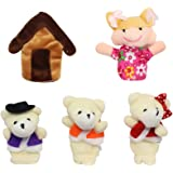 Homgaty 5Pcs Goldilocks & Bears Finger Puppets Story Telling Nursery Fairy Tale The Perfect Birthday, Christmas Gift