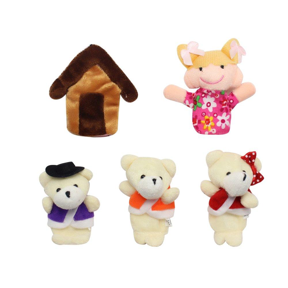 Homgaty 5Pcs Goldilocks & Bears Finger Puppets Story Telling Nursery Fairy Tale The Perfect Birthday, Christmas Gift