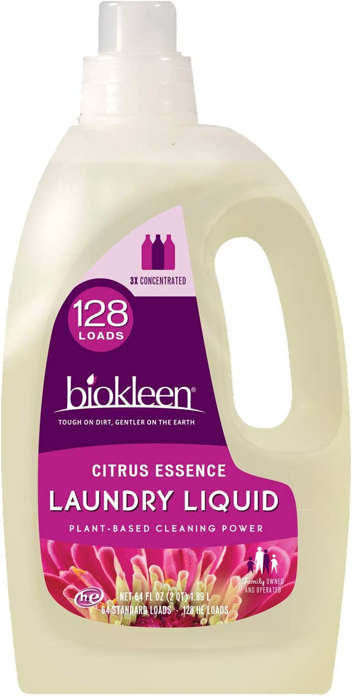 Biokleen Laundry Detergent -128 HE Loads - Citrus Essence 64 Fl Oz Concentrated, Eco-Friendly, Non-Toxic, Plant-Based, No Artificial Fragrance or Preservatives