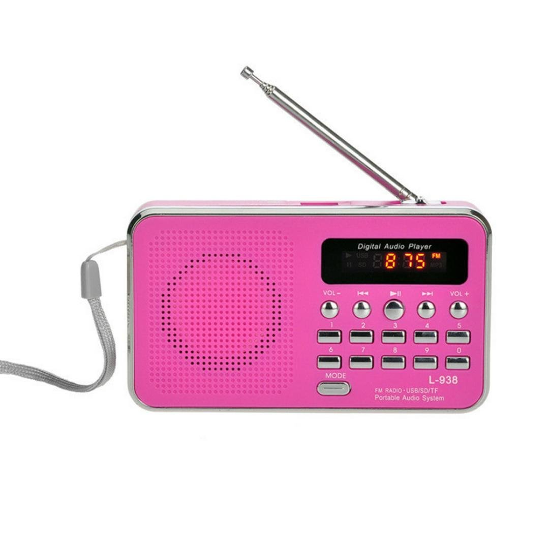 Radio Speaker, Portable FM/AM Radio Digital Mini Speaker Music MP3 Player AUX USB TF LED Light, Christmas Gifts for Women Men Mother Father Grandmother Grandpa (Hot Pink)