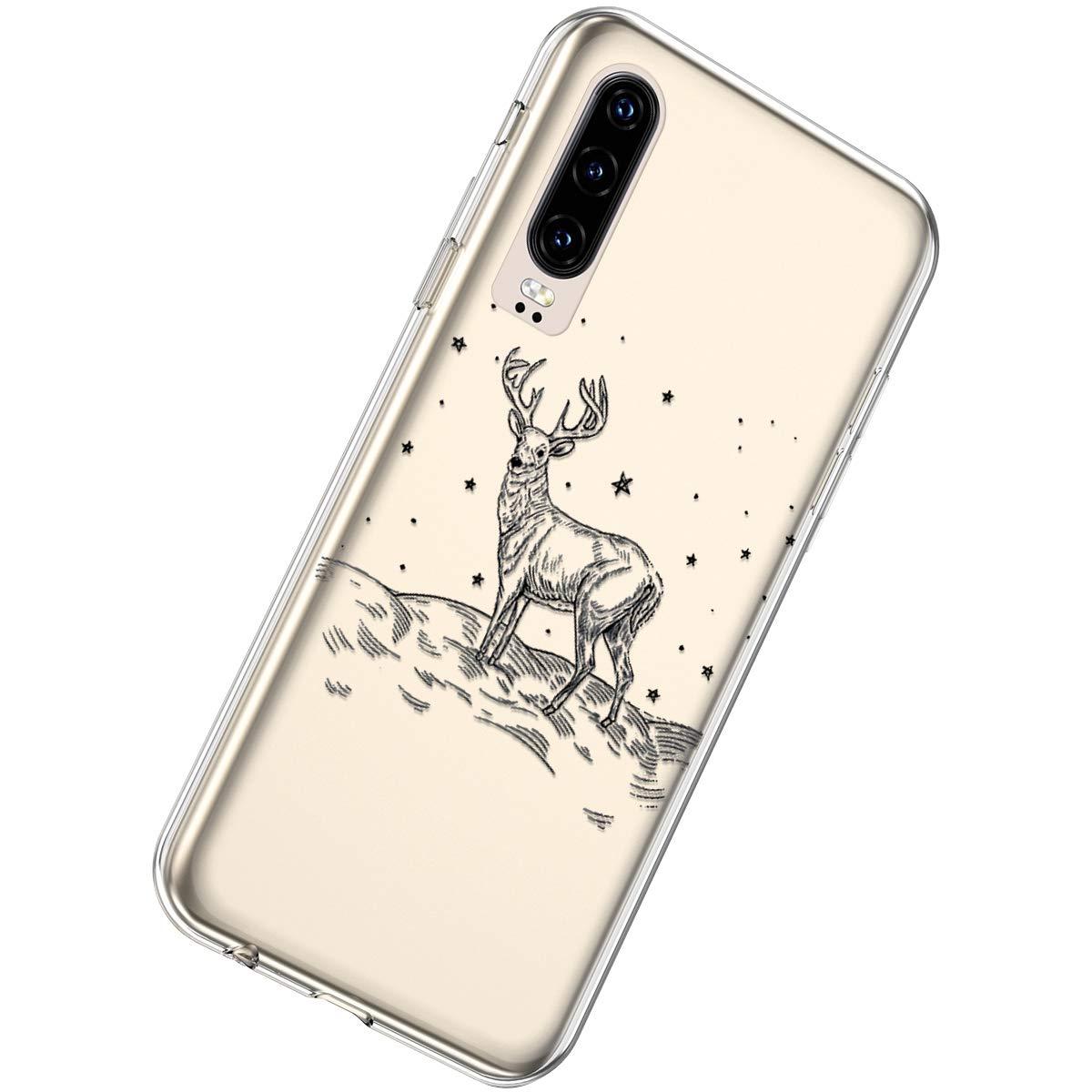 Herbests Custodia Huawei P30 Cover Trasparente Silicone Soft Custodia Sottile Crystal Clear TPU Silicone Case Fiocco di Neve Natale di Serie Cover,Fiocco di Neve
