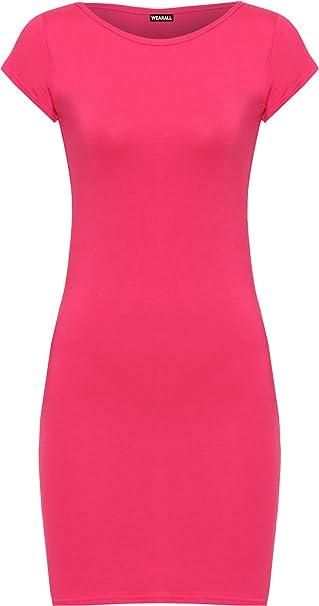WearAll - Damen Einfarbig Anliegend Stretch Kurzarm Mini Kleid Lang Top -  Cerise - 36-