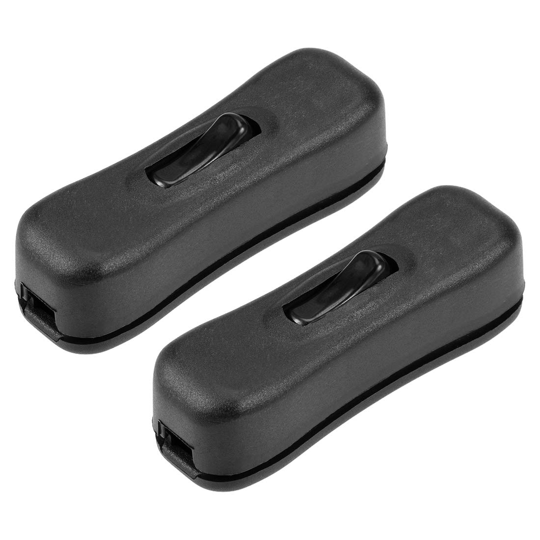 Pack of 2 uxcell/® Inline Cord Switch AC 250V 2A SPST Feed-Through Rocker Switch for Bedroom Table Lamp Desk Light Black