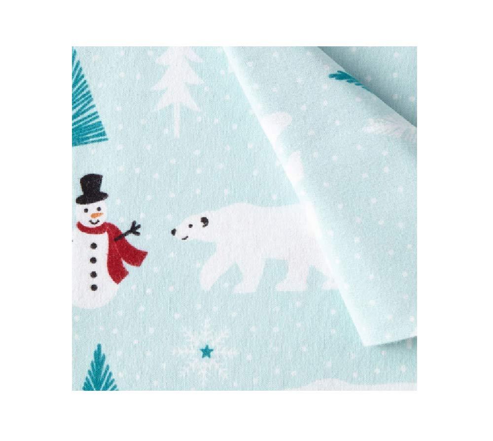 North Pole Trading Co. 100% Cotton Heavyweight Flannel Sheet Set Winter Polar Bears & Snowmen (Twin)