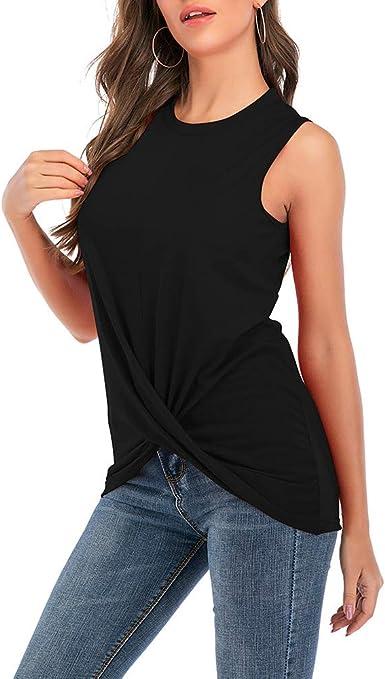 Verano Casual Cuello Redondo Sin Mangas Plegable Costura Camiseta Mujer: Amazon.es: Ropa y accesorios