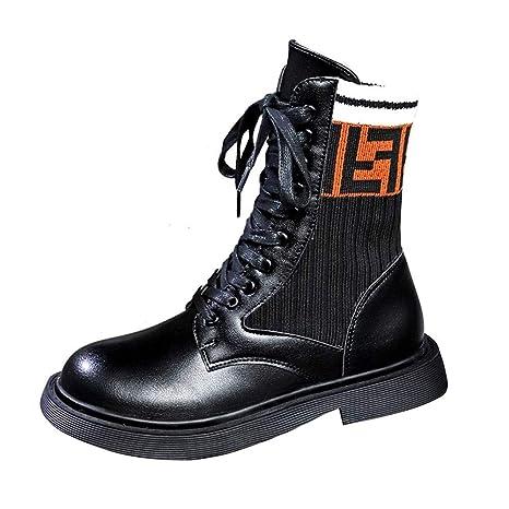 d06747ae0 NIUJF Otoño Invierno Mujer Botas Calcetines Botas Frente con Cordones  Zapatos Casuales Martin Botas Botines Zapatos