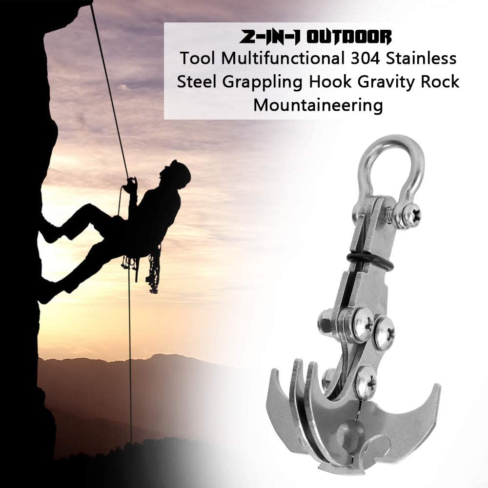Beautyer Grappling Hook Gravity Rock Climbing Hooks 4 Claws Survival Stainless Steel Climbing Hook for Outdoor Camping Hiking 1PC