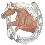 [Custom] Lucky Charm Horse with Horse Shoe [Haflinger Horse With Horseshoe] Embroidery Iron On/Sew patch [7