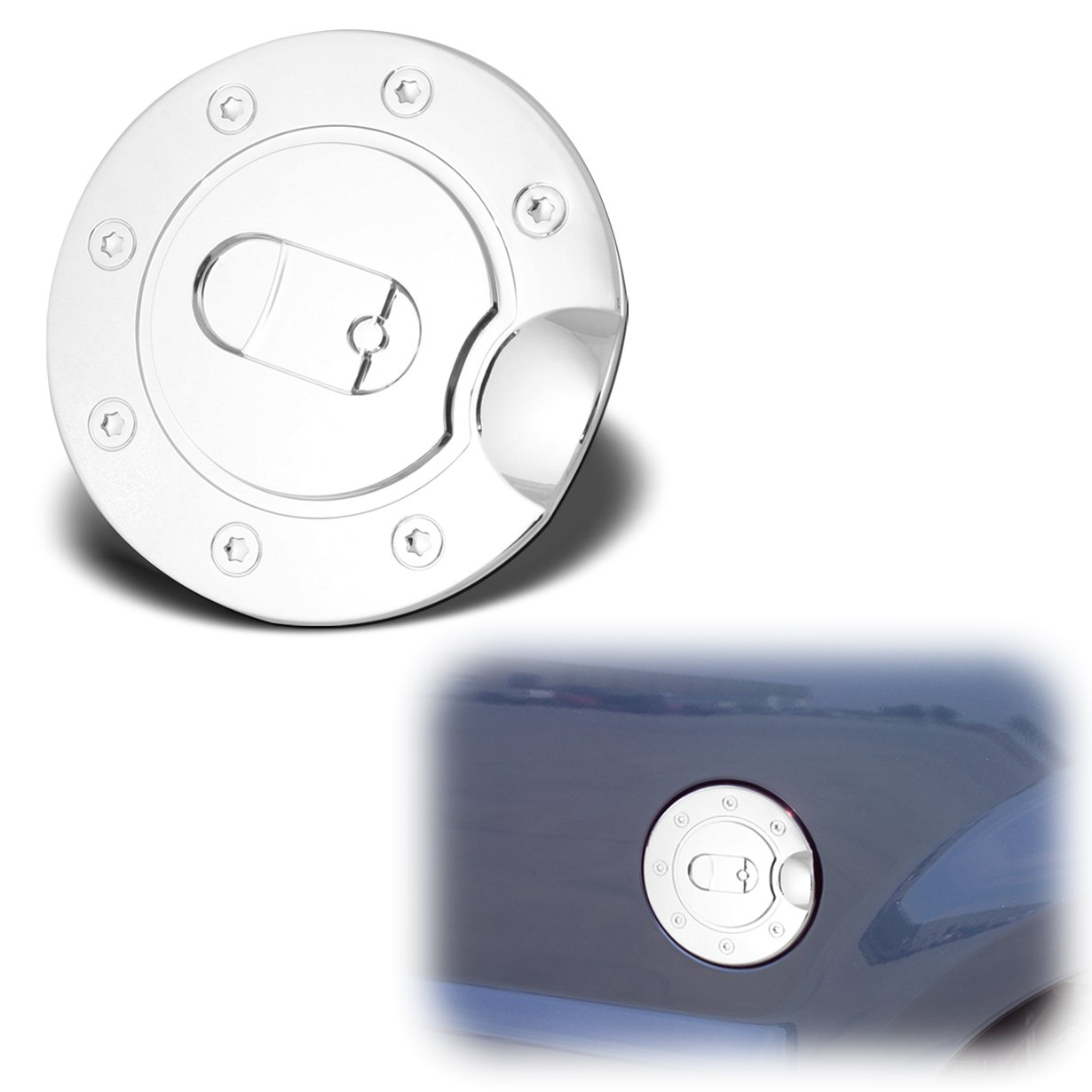 AutoModZone Chrome ABS Fuel Tank Gas Door Cap Cover for 97-03 Ford F-150// 97-10 F-250 F-350 SuperDuty// 97-14 Expedition// 02-10 Explorer// 00-05 Excursion 03-05 Lincoln Aviator 98-14 Lincoln Navigator