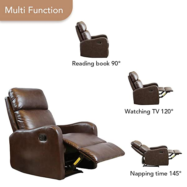 BONZY Recliner Chair Contemporary Chocolate Leather Recliner Chair for Modern Living Room Durable Framework