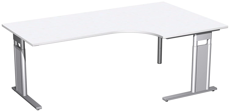 Geramöbel PC-Schreibtisch rechts höhenverstellbar, C Fuß Blende optional, 2000x1200x680-820, Weiß/Silber