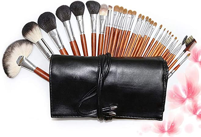 Brocha de Maquillaje para Mujer Sombra de Ojos de Maquillaje de Pelo de Cabra con Cepillo de Maquillaje Profesional de 30 Piezas con Estuche de Cuero de PU Suave: Amazon.es: Hogar