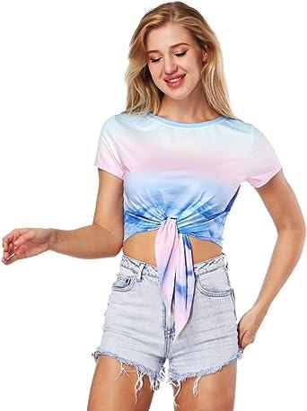 ISSHE Camisa Corta Mujer Camisetas Estampadas Manga Corta Oversize Camiseta para Chicas Anchas Casual Tops Cultivo Flojas Camisetas Cortas Crop Top Print Personalizadas Divertidas Chulas Verano: Amazon.es: Ropa y accesorios