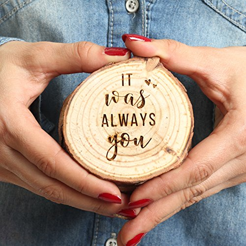 Koyal Wholesale Engraved Wedding Ring Box, Real Wood Engagement Ring Box, Wedding Ring Bearer, Wedding Box for Rings, Rustic Ring Box, Proposal Box (It was Always You, Oak)
