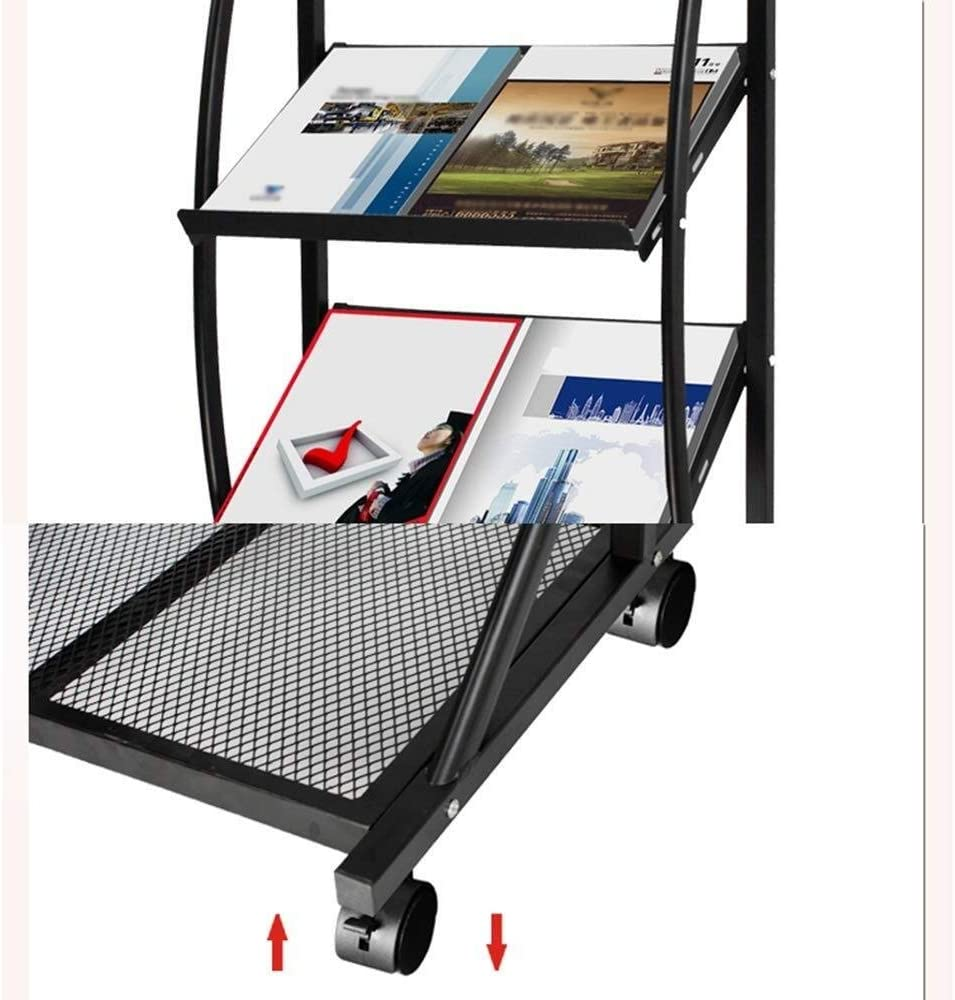 Size: 155*38*48cm ZBM--ZBM Magazine Racks Promotional Display Rack A4 //A5 Floor-standing Book Stand Aluminum Alloy Data Storage Rack Office Newspaper Newspaper Clip Display Stand Multi-layer advertis
