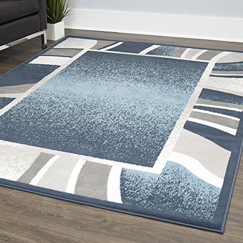 Home Dynamix Lyndhurst Rotana Modern Area Rug, Contemporary Blue/Gray/Ivory 7'8