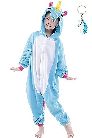 a69c2423bd298 Landove Costume Cosplay Onesie Animaux pour enfant Blue Unicorn 85 100   (Hauteur
