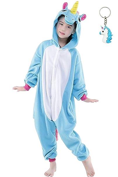6de638ae26 Landove Pijama Unicornio Niña Niño Mono Franela Kigurumi Animales Entero  Unisex Sleepsuit Romper Homewear Onesie Cosplay Traje de Disfraz para  Festival ...
