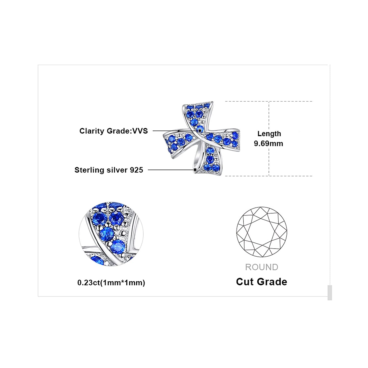 Sterling Silver Jewelry By CS-DB Flower Bow Knot Created Blue Round Spinel Pave Trendy Stud Earrings