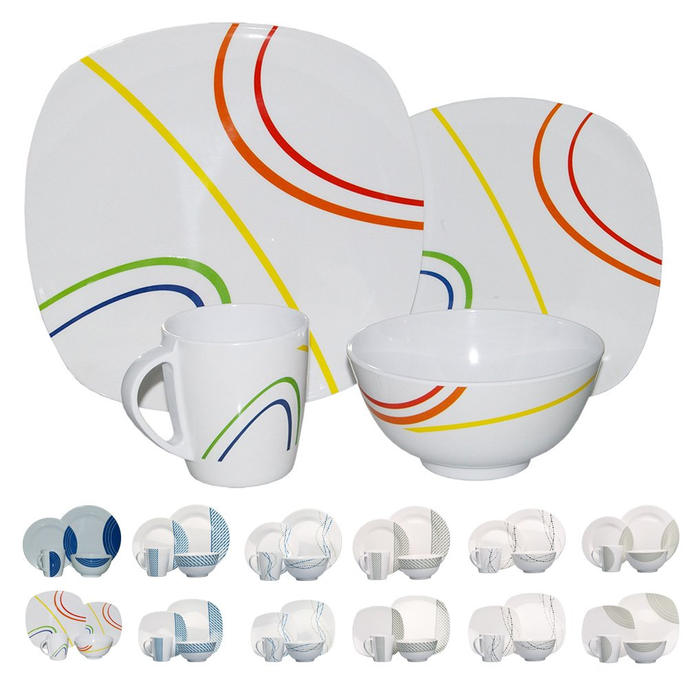 Camping Cookware 16 Piece Melamine, for 4 people (designs/colours available) Hekers