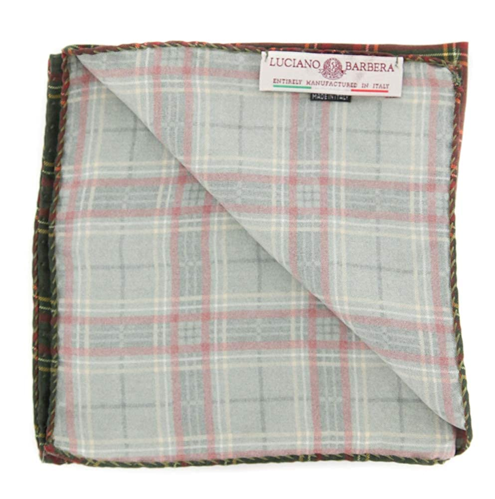 New Luciano Barbera Dark Green Plaid Pocket Square x 12.5