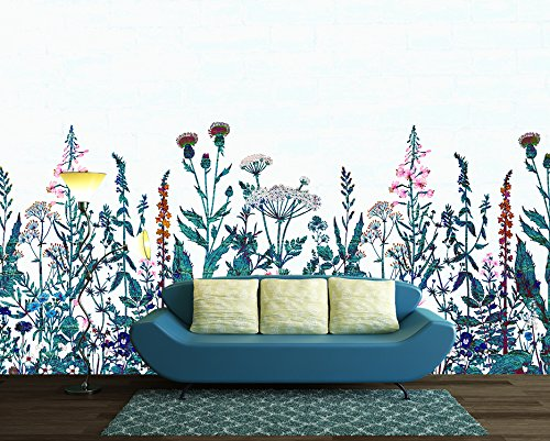 Large Wall Mural Various Flowers on White Background Vinyl Wallpaper Removable Wall Decor