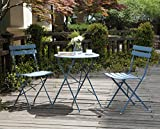 Image of Grand Patio Premium Steel Patio Bistro Set, Folding Outdoor Patio Furniture Sets, 3 Piece Patio Set of Foldable Patio Table and Chairs, Blue