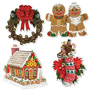 Beistle 4-Pack Packaged Home for Christmas Cutouts, 16-Inch