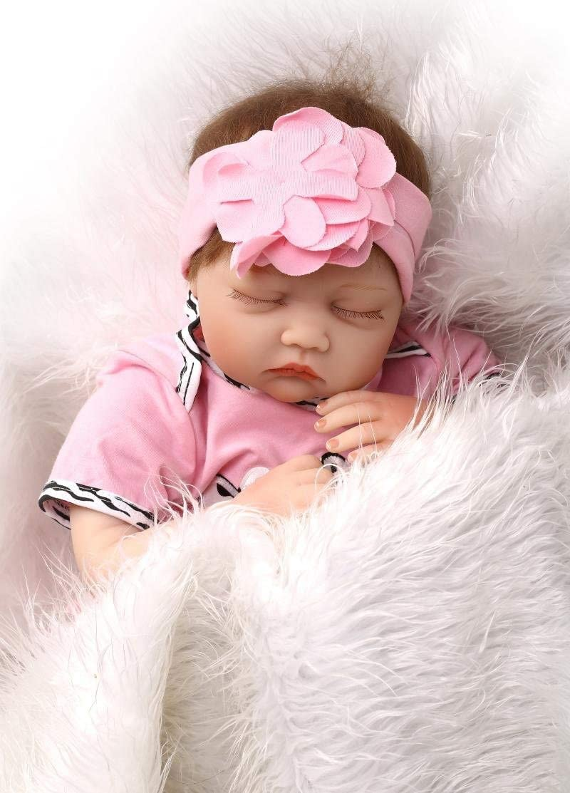 22Inches Reborn Baby Dolls Girl Realistic Silicone Vinyl Baby Doll Sleeping Real Life Weighted Newborn Babies Dolls with Closed Eye