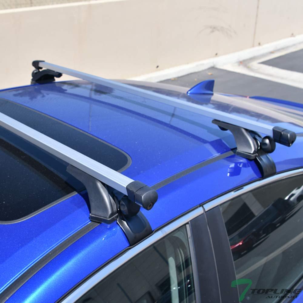 Topline Autopart 50 Universal Silver Adjustable Aluminum Square Window Frame Roof Rack Rail Cross Bars Utility Cargo Carrier