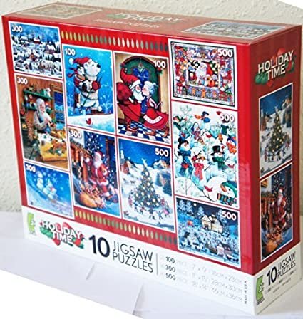 Amazoncom Ceaco Holiday Time 10 Jigsaw Puzzles Multi Pack Box Set