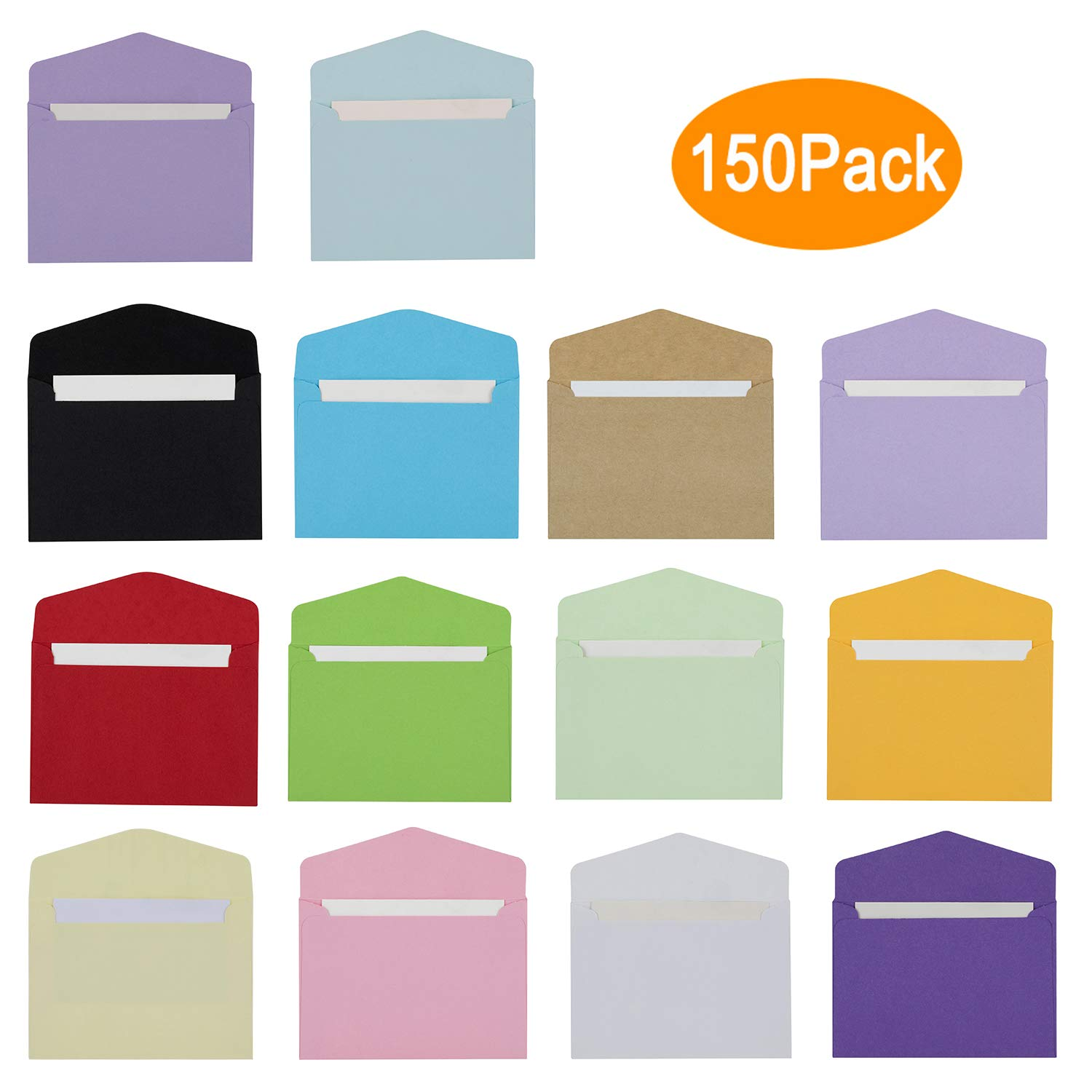 Colorful Envelopes with White Blank Business Cards - 150Pcs Pocket Envelopes
